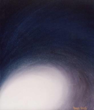 cosmogonía, azul, color en movimiento, pintura y símbolo, Mamen Arruti